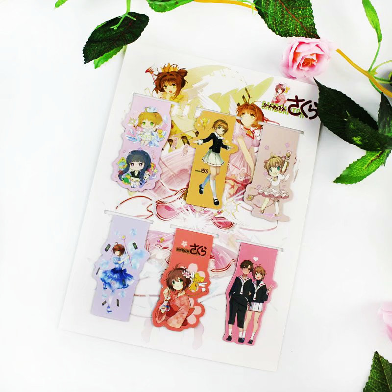 6pcs Card Captor Sakura Anime Magnetic Bookmark Cartoon Magnet Bookmark Child Student Kawaii Gift Bookmarks Office Stationery