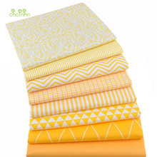 Chainho,8 unids/lote, patrones geométricos amarillos, tela de algodón sarga impresa, tela de retales, Material de costura y acolchado DIY para bebé y niño