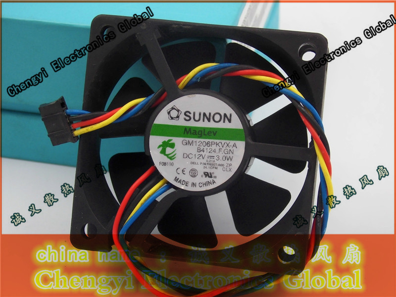 Free Shipping DC12V 3.0W Server Cooling Fan For SUNON GM1206PKVX-A B4124.F.GN Server Square Fan 4-wire free shipping for sunon kde0505phb2 dc 5v 1 9w 2 wire 3 pin 50x50x15mm server square fan