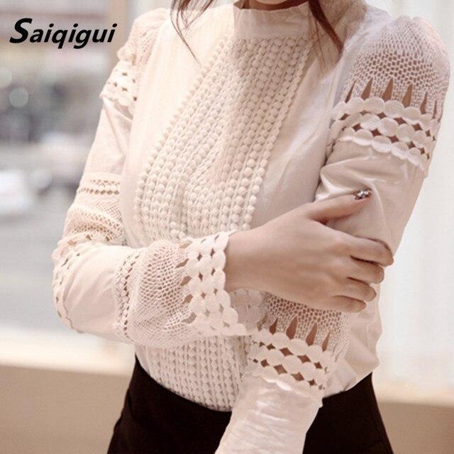 Saiqigui New Fashion Spring Women Blouse Elegant Long Sleeve White Cotton Slim Crochet Hollow Lace Shirt Female Blusas Femininas