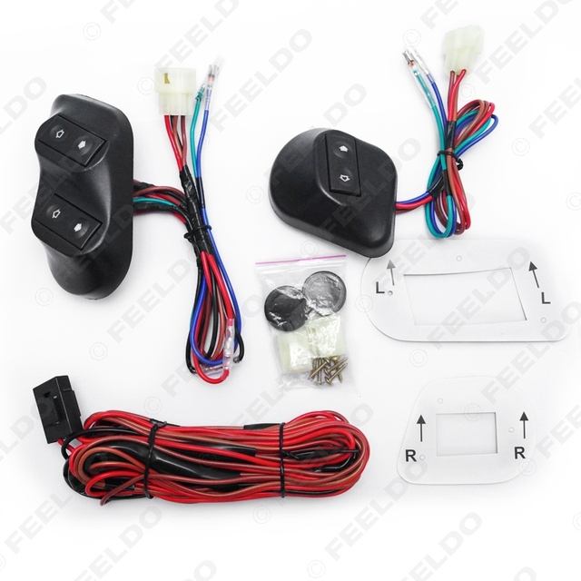 New Universal 12V/24V 3pcs Buttons Car Power Window Switches with Holder & Wire Harness #FD3938