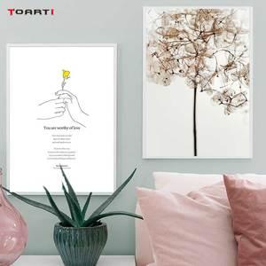 Image 1 - 노란 꽃 미니멀리스트 손 인쇄 포스터 현대 영감 생활 따옴표 캔버스 회화 거실 홈 장식 그림