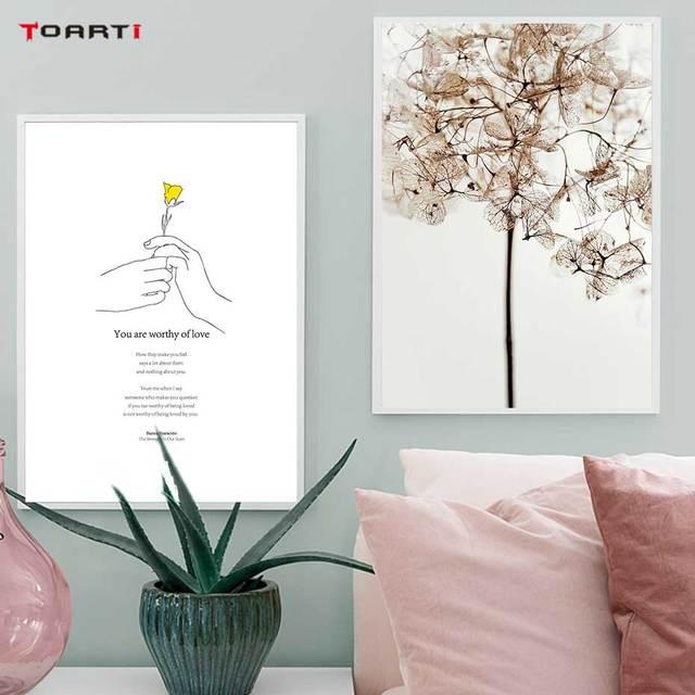 노란 꽃 미니멀리스트 손 인쇄 포스터 현대 영감 생활 따옴표 캔버스 회화 거실 홈 장식 그림