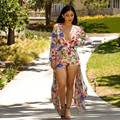 Flower print S-XXL plus size women 2016 summer short rompers womens jumpsuit bodysuit bodycon elegant jumpsuit and romper XD844