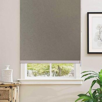 100% Blackout Light Brown Home Roller Blinds Customized Blinds Waterproof Thermal Roller Shade Window Shade With Back In White