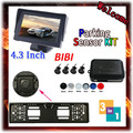 7 Color Dual Core Visual Car Video Parking Sensor Reverse Backup Radar System 4.3' Digital Display and  Car License Plate Camera