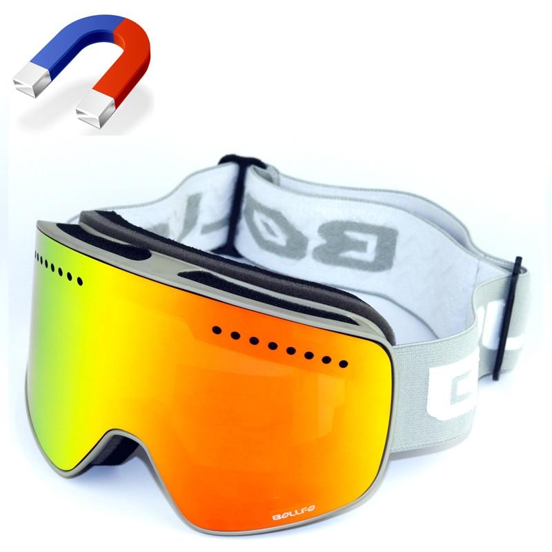 BOLLFO Brand Magnetic Ski Glasses Double Lens mountaineering glasses UV400 Anti fog Ski Goggles Men Women snowmobile spectacles Skiing Eyewear     - title=