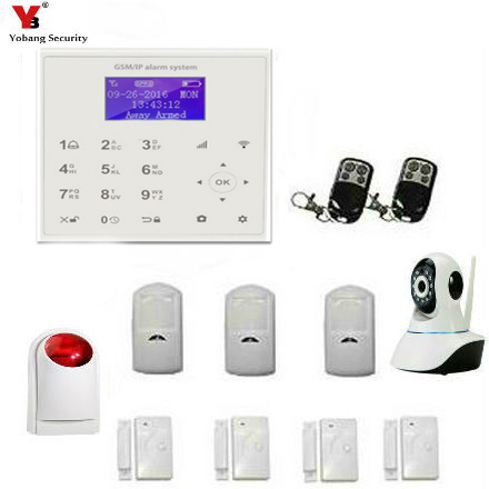 YobangSecurity WIFI Gsm Wireless Wired Home Office Security Burglar Alarm System Auto Dial Strobe Flashing Siren WiFI IP Camera yobang security gsm wifi auto dial home alarm system rfid tags intelligent alarma kits glass break sensor strobe siren sensor