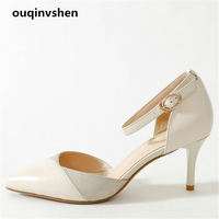 Ouqinvshen Cover Heel Women Shoes 2018 Off White Pointed Toe Shallow Summer Sandals Mixed Fight Kid Suede Pumps Shoes Women