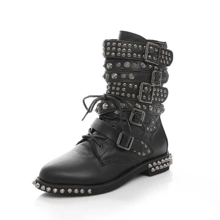 Han edition of the new scooter street personality Martin large size ladies boots boots rivet belt buckle with large short boots
