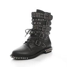 La edición de han de la nueva calle vespa personalidad Martin grande señoras del tamaño botas botas remache hebilla de cinturón con corta grande botas