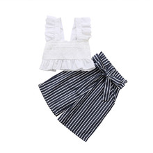 2018 Summer striped set Toddler kids 1-6T lace crop top sweet ruffles bandage bleted pants wide leg palazzo outfit Girls clothes palazzo leg striped cami jumpsuit