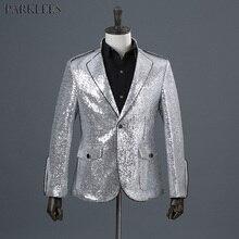 0bb98b80cb7 Traje de esmoquin de un botón con solapa y lentejuelas brillantes para  hombre, Chaqueta de traje Satge de cantante de boda, traj.