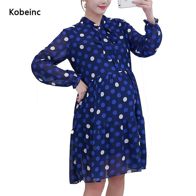 Fashion Dot Chiffon Plus Size Maternity Dresses Bow Stand Collar Dress For Pregnant Women 2017 Spring Vintage Maternity Vestidos