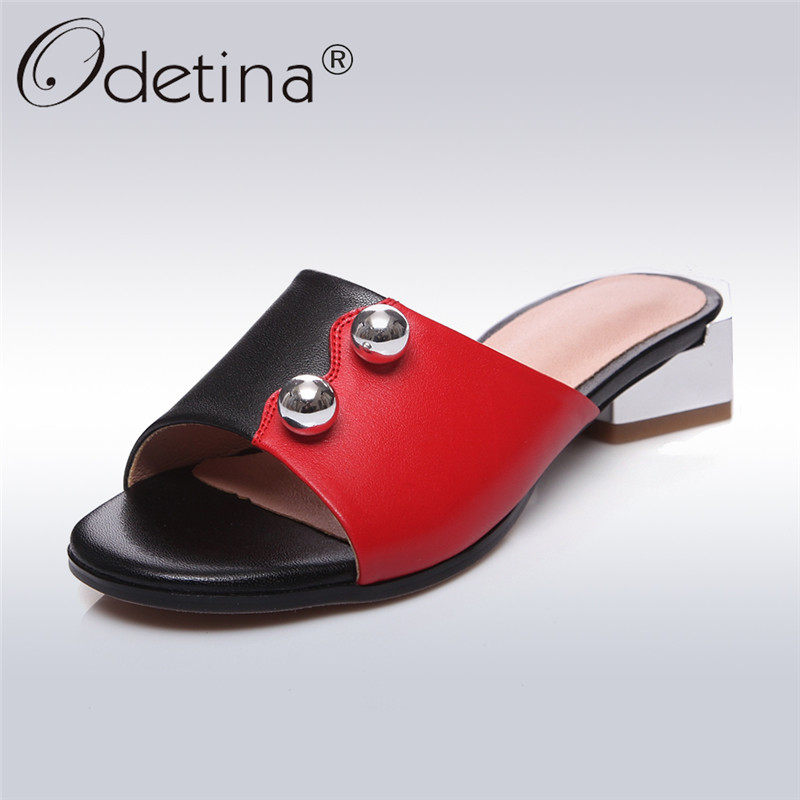 Odetina 2018 New Fashion Genuine Leather Open Toe Mules Shoes Women Casual Mid Heel Slingback Pumps Metal Decoration Big Size 43 odetina 2018 new fashion women wedges pumps women comfort hidden heel casual hook