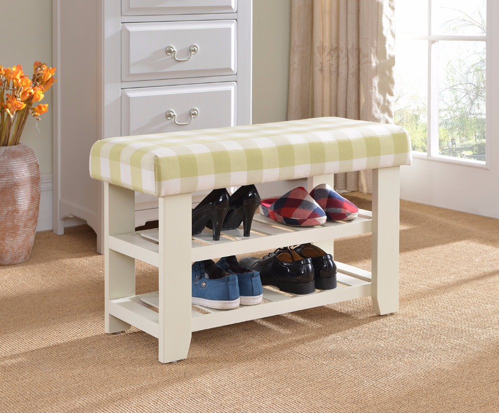 shoes rack wood shoe cabinet change shoe stool bench shelf plaids cushion storage ottoman furniture