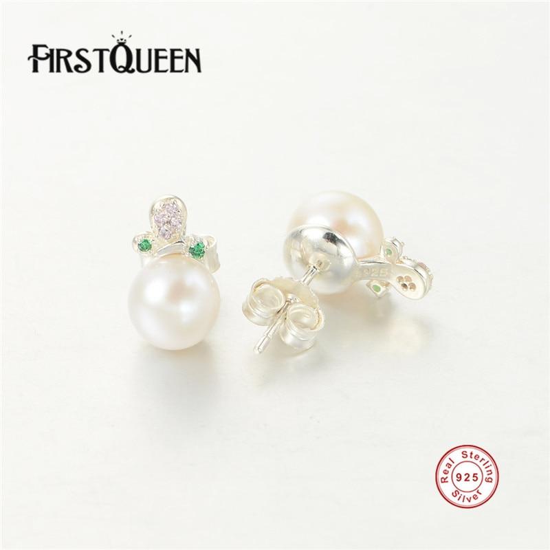 FirstQueen véritable 925 Sterling argent Nature eau douce perle boucles d'oreilles pour les femmes Bijoux Bijoux - 3