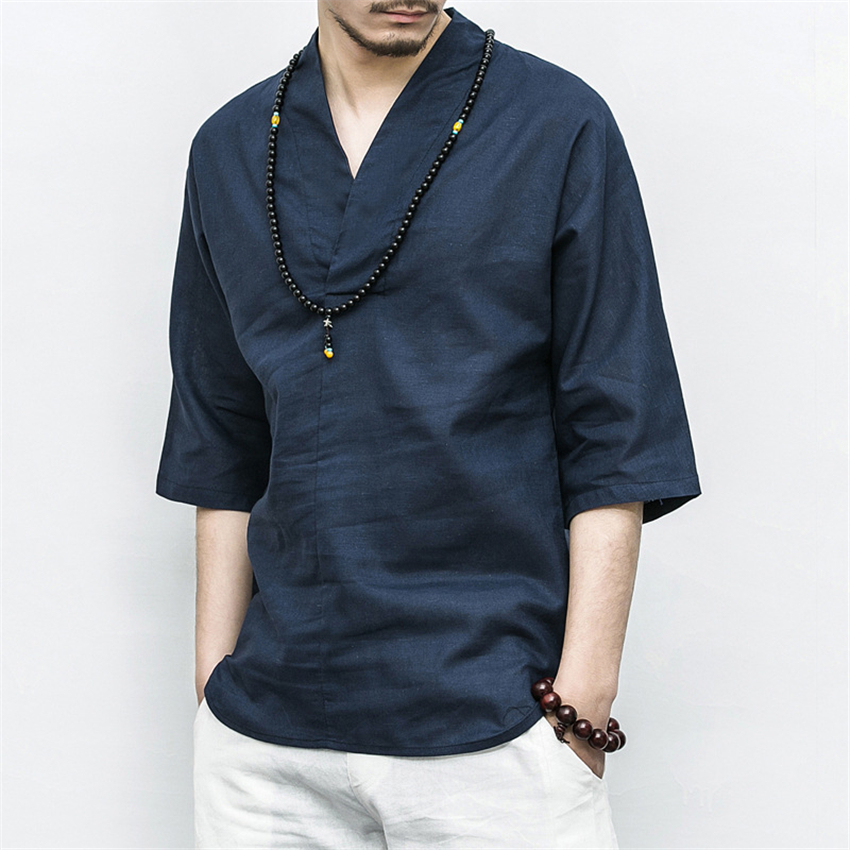 M-5XL Retro Chinese Style Shirts Man Summer Casual V-neck Tai Chi Uniform Men Linen Solid Half Sleeve Beach Chinese Tops