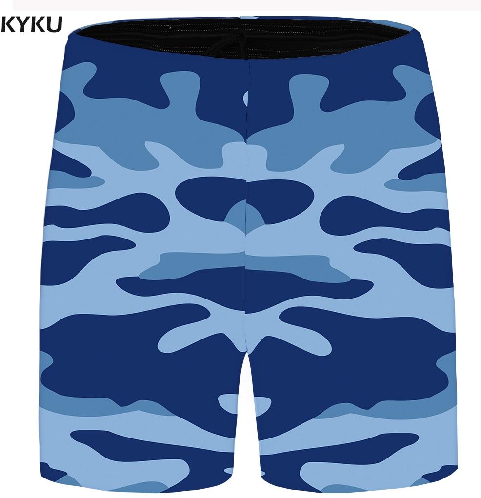 KYKU Brand Camo Short Men Military Cargo Shorts Beach Anime Fashion Casual Shorts Blue Mens Short 2018 New Summer Cool Big Size