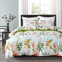 Pastoral Style Plant Printed Bedding Set Queen Polyester Fabric Bed Cover Sets King Size Soft Bedclothes For All Seasons