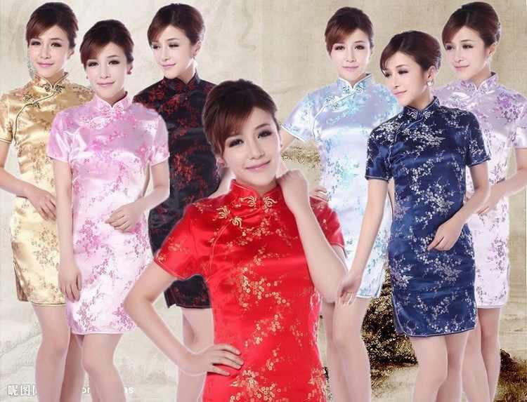安いチャイナブラックオリエンタル上海唐ドレス繁体字中国語服パターン現代袍ドレス赤チャイナシルク