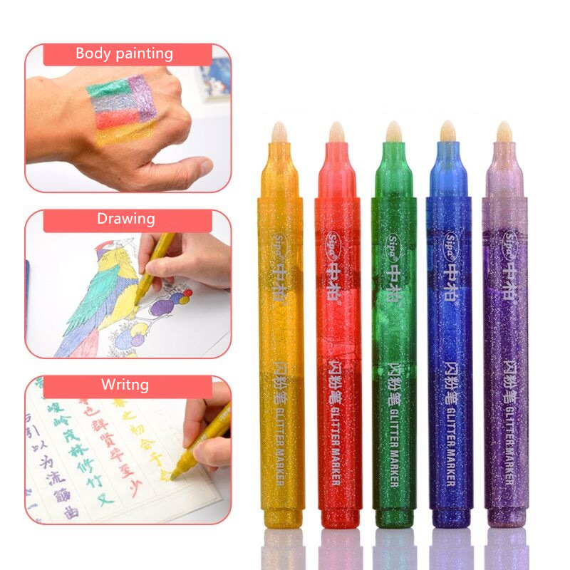 5 color Cute  Shining drawing painting calligraphy pens Kawaii kids gifts Album Scrapbooking tools Office School supplies FB989