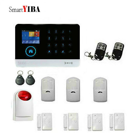 SmartYIBA RFID Wireless GSM&SMS Burglar Alarm Security System APP Control Motion Sensor Door Magnetic Sensor Strobe Siren Alarm home security door window siren magnetic sensor alarm warning system wireless remote control door detector burglar alarm