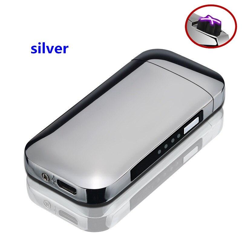 9730eacbb8f USB Toque Mais Leve Isqueiros À Prova de Vento Isqueiro Eletrônico  Recarregável Cigar LED Duplo Arco
