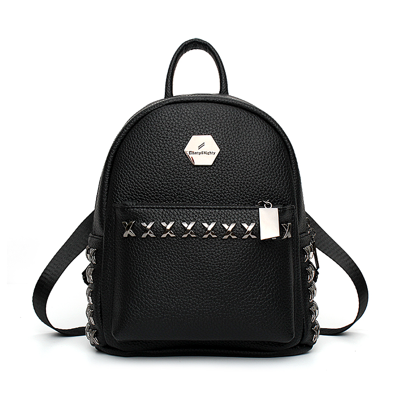2017 New Leisure Diamonds Rivet Rucksack High Quality Women Shopping Package Ladies Preppy Style Backpack