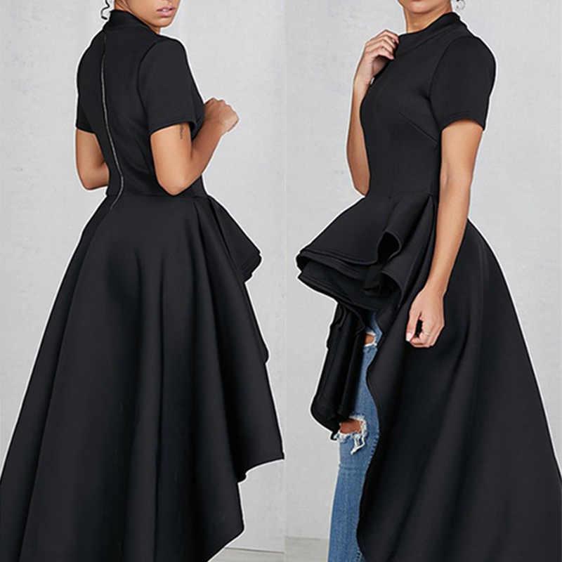 Женские Элегантные с коротким рукавом облегающее длинная баска из шифона и удлиненным шлейфом, коктейльное платье для вечеринки платье