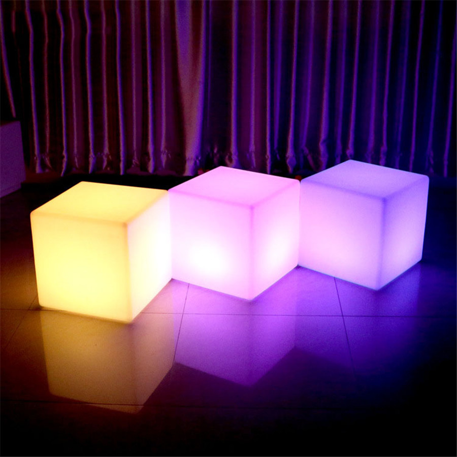 Thrisdar 30 CM 40 CM a mené la barre éclairée de meubles a mené la chaise de siège de Cube lumière de nuit tabourets de Bar extérieurs lampes de Table en plastique - 3
