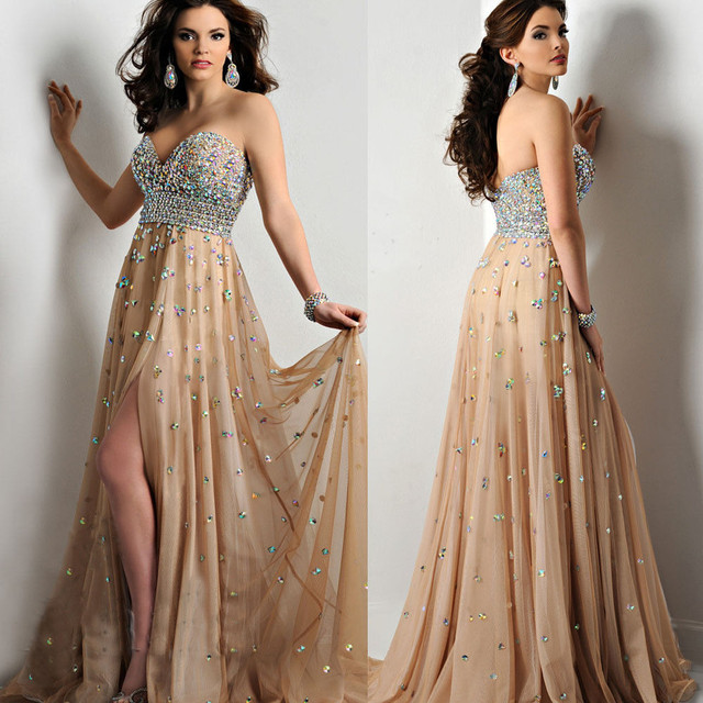 09bda5d9ad9 2017 New Listing Long Prom Dress Crystal Beading Front Slit Chiffon Champagne  Evening Gown Custom-made