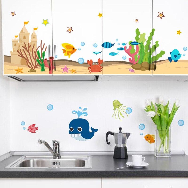 Подводный замок рыбы Акула пузырь Краб c Книги по искусству Ун стены стикеры наклейки Книги по искусству для малыша номеров Кухня Ванная ком...