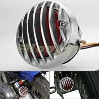1x 4 Custom Chrome Protective Billet Aluminum Grille Cover 10W Red Integrated Tail Brake Stop Running