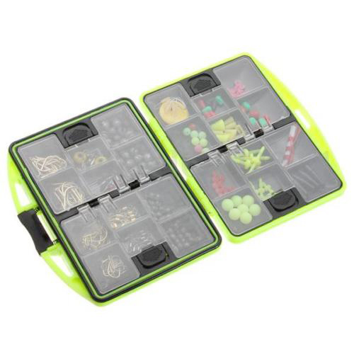 Carp Fishing Tackle Box Bundle with Quick Links Safety Clips Hooks Swivels Set