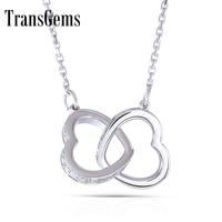 TransGems 18K White Gold 0.5 ct Lab Grown moissanite Diamond Heart Shape Solitaire Pendant Necklace Solid for Women