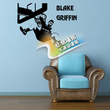 Free shipping diy vinyl basketball wall stickers The Los Angeles clippers star Blake griffin wallpaper  children room decor