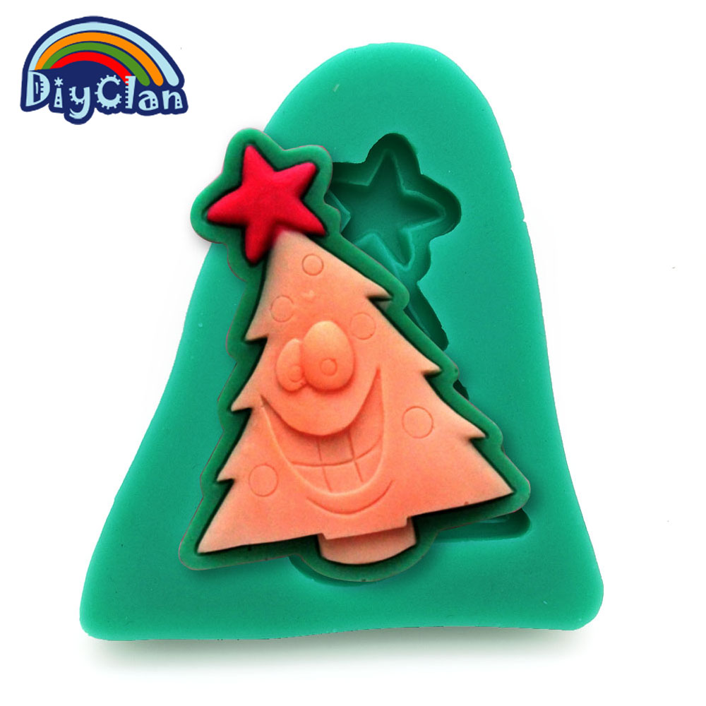 hot cake tools diy silicone molds for cake decorating mini fondant mould christmas tree candy chocolate soap mold f0445sd30