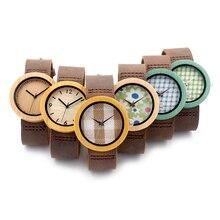 2016 El Más Nuevo Reloj De Madera De Bambú para Las Mujeres con Madera Paño de Cara Del Dial Relojes de Cuarzo para Las Mujeres relojes de pulsera banda de cuero genuino