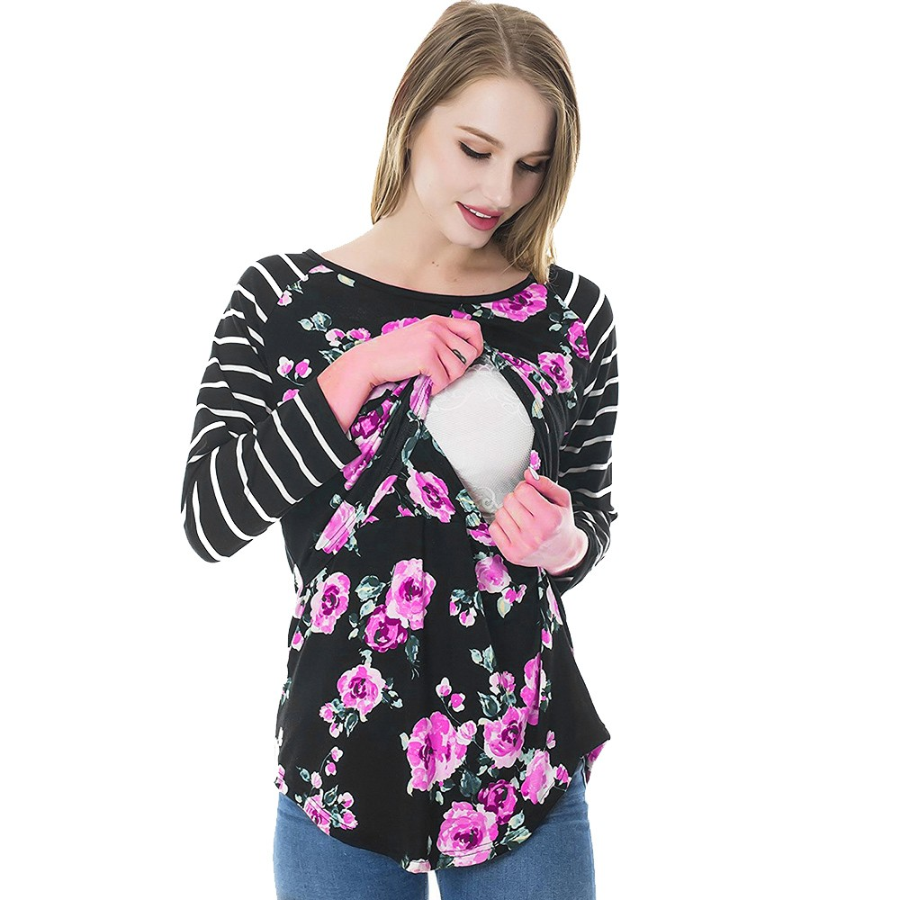 Women Mom Pregnant Nursing Maternity Long Sleeved Striped Floral Print Blouse Clothes Multi-Functional Breastfeeding Clothes band collar floral blouse