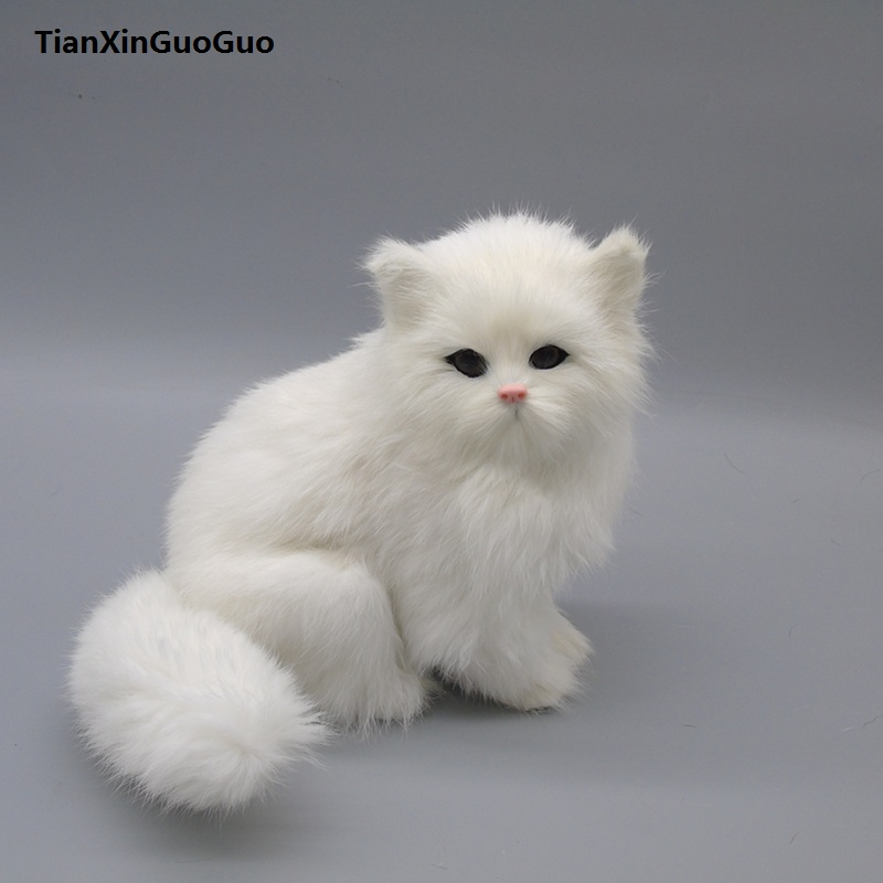 simulation white cat hard model large 20x15cm,polyethylene&furs sounds miaow squatting cat handicraft home decoration gift s0453
