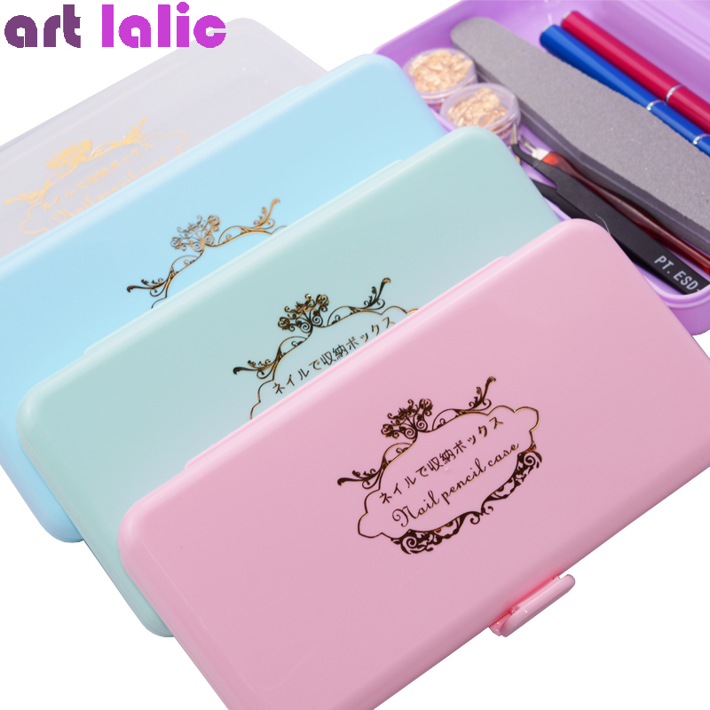 Rectangle Nail Storage <font><b>Box</b></font> for Long Nail <font><b>Tools</b></font> Tweezers Cuticle Pusher Brushes Pens Nail <font><b>Art</b></font> Plastic Empty Holder Container Case image