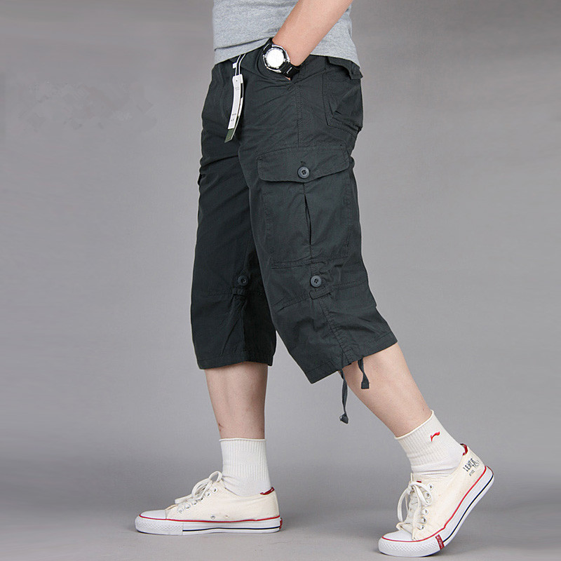New Summer Mens Baggy Multi Pocket Military Zipper Cargo Shorts Hot breeches Male Army Green Black Men Tactical Short Plus Size