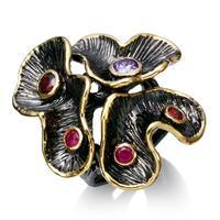 Fashion Elegant Flower Big Rings For Women Black Gold Plated Lead Free Zirconia Stone Vintage Bohemian