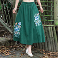 King Of Embroidery Flowers Cotton Linen Elastic Waist Pleated Skirt Women Spring Summer Autumn Casual New Ethnic Clothes
