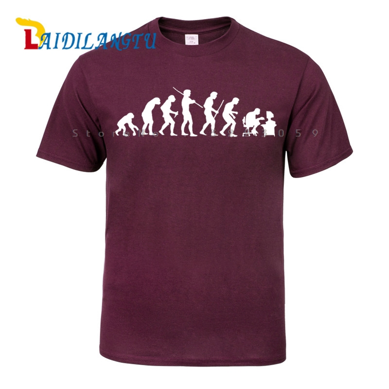 Evolution Of Man To Computer Gamer Geeky Funny Men   T  -  shirt   Short sleeve O-Neck Fashion   T     shirt