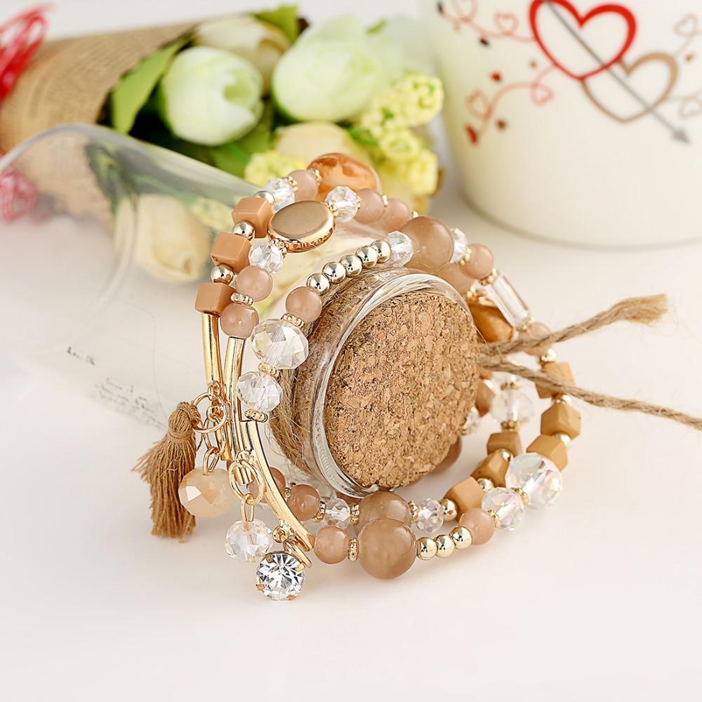 2016 Fashion Vintage Multilayer Bracelet New Bohemia Rhinestone Beaded Beads Tassel Bracelets