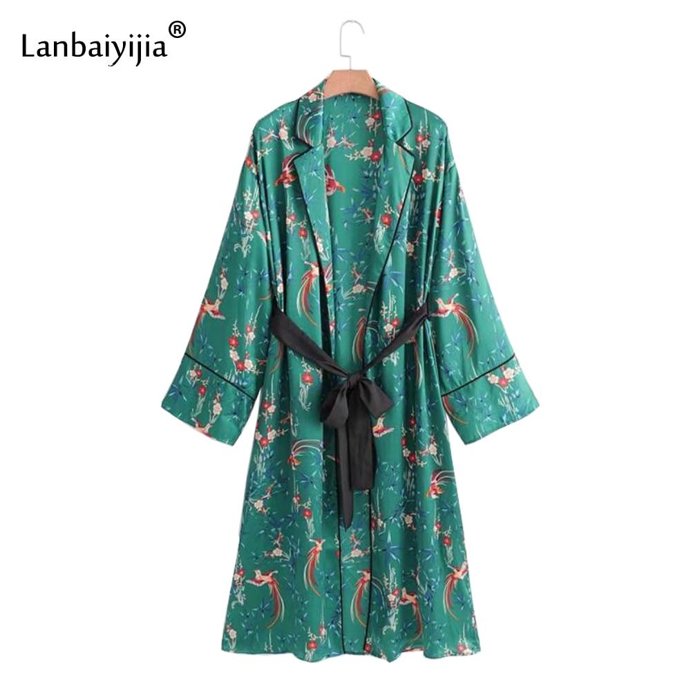 Lanbaiyijia nouveau Style femmes robe Phoenix imprimer marque de mode robe taille haute ceintures à manches longues été kimono robes S M L