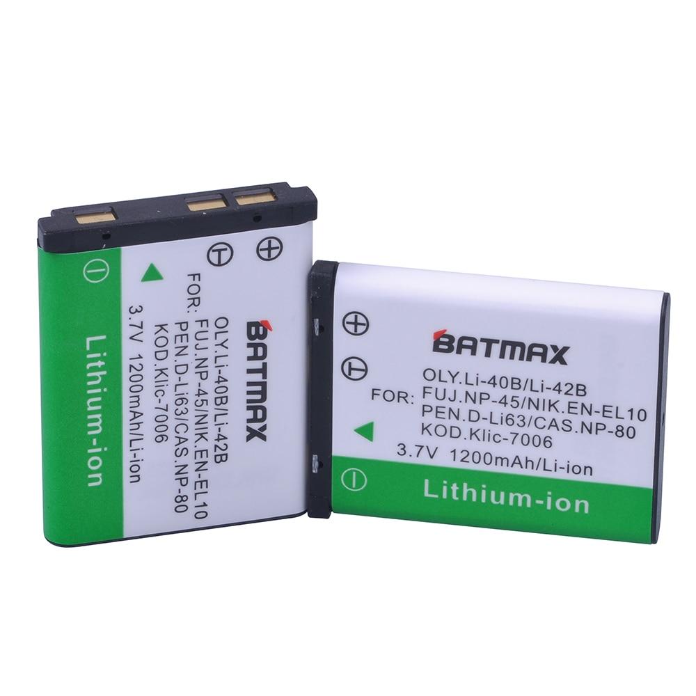 2X Batería Para OLYMPUS Li40B Li-42B FE-220 FE-230 FE-360 FE-4030 TG-310 VR-310