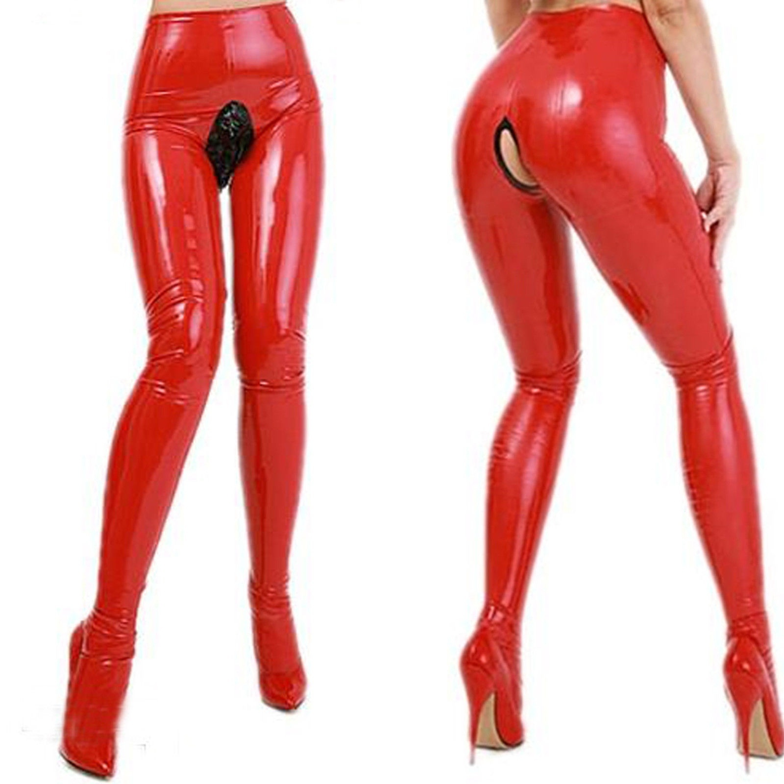 Latex Rubber Women Sexy Stylish Banding Tight Trousers Handsome Pants XXS-XXL